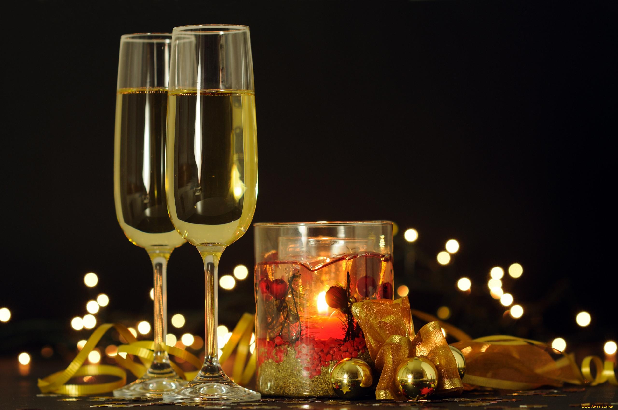 Открытки с фужерами шампанского